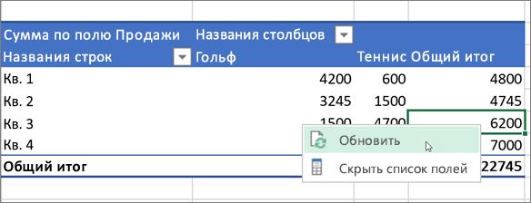 Обновление сводной таблицы