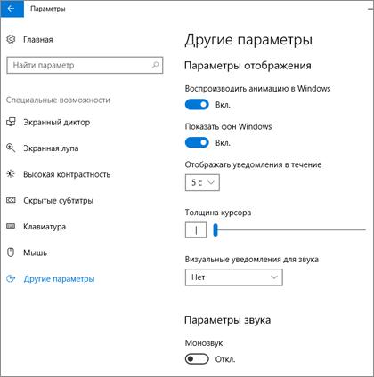 """Область """"Другие параметры"""" в Центре специальных возможностей Windows10"""