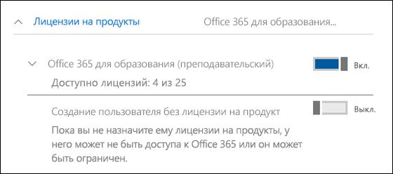 """Снимок экрана: добавление пользователя в Office 365, показан развернутый раздел """"Лицензии продуктов""""."""