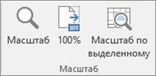 """Группа """"Масштаб"""" на ленте Excel"""