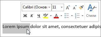 Мини-панель инструментов с выделенным текстом