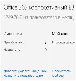 """Ссылка для добавления и удаления лицензий на странице """"Подписки""""."""