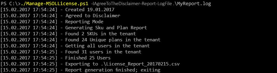Результат выполнения сценария Manage-MSOLLicense