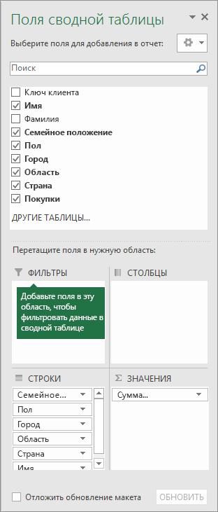 """Раздел """"Фильтры"""" в области полей сводной таблицы"""