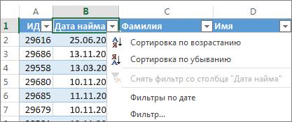 Сортировка столбца таблицы