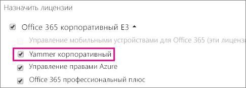 Снимок экрана: раздел назначения лицензий в Центре администрирования Office365, в котором можно назначить лицензию Yammer Enterprise.