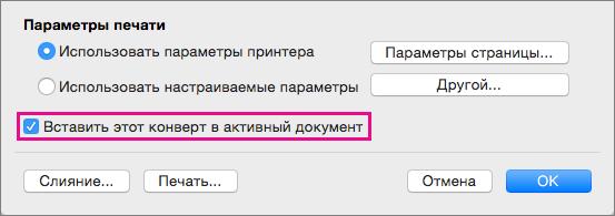 """Чтобы включить этот конверт в текущий документ, установите флажок """"Вставить этот конверт в активный документ""""."""