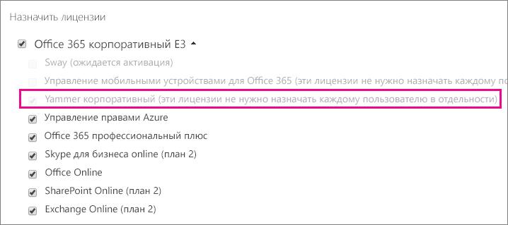 Снимок экрана: раздел назначения лицензий в Центре администрирования Office365, в котором выбрана лицензия Yammer Enterprise.