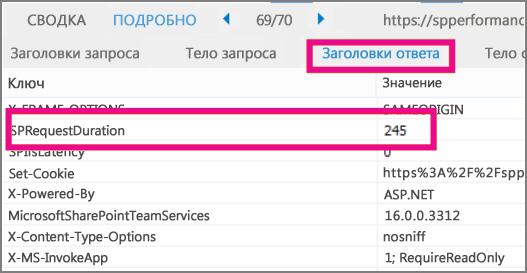 Снимок экрана: время загрузки показано в качестве значения параметра длительности запроса