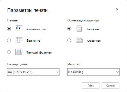 """Параметры печати в меню """"Файл""""> """"Печать"""""""