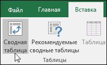 """Выберите """"Вставка"""" > """"Сводная таблица"""", чтобы вставить пустую сводную таблицу"""