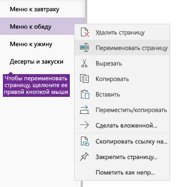 Снимок экрана: переименование страницы в OneNote
