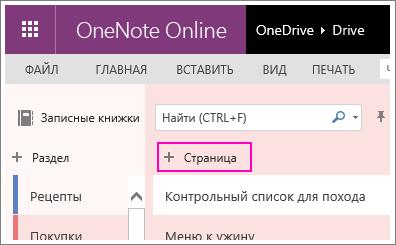 Снимок экрана: добавление страницы в OneNote Online.