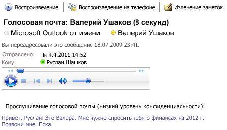Сообщение голосовой почты с транскрипцией