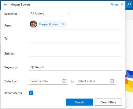 Фильтры поиска в Outlook в Интернете