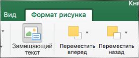"""Кнопка """"замещающий текст"""" для изображений на ленте в Excel для Mac"""