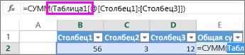 Имя таблицы отображается в формулах