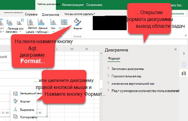 Excel для веб-файла с диаграммой, в которой отображается вкладка Диаграмма с пузырьковой диаграммой, указывающей на кнопку Формат, пузырьковый текст, указывающий на команду Формат контекстного меню диаграммы, и пузырьковый текст, указывающий на область задач Формат диаграммы.