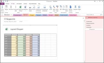 Электронная таблица Excel на странице в OneNote