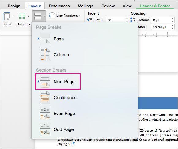 """Выберите пункт """"Следующая страница"""", чтобы вставить разрыв раздела, после которого текст должен начинаться на следующей странице."""