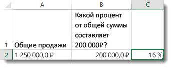 125 000 ₽ в ячейке A2, 20 000 ₽ в ячейке B2 и 16% в ячейке C2