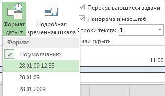 """Кнопка и меню """"Формат данных"""" временной шкалы в разделе """"Проект"""""""