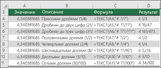 Коды форматов для дробей