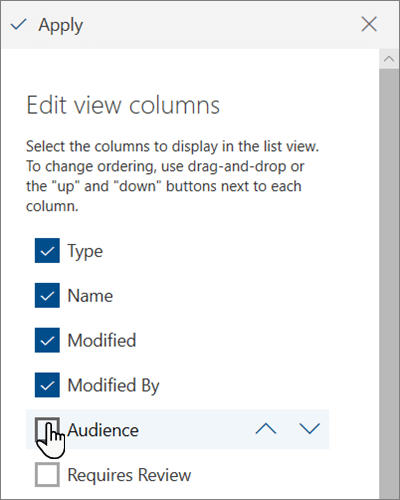 The Edit view columns pane in modern SharePoint Online