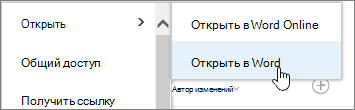"""Выбор приложения для открытия файла, выбран пункт """"Открыть в Word"""""""