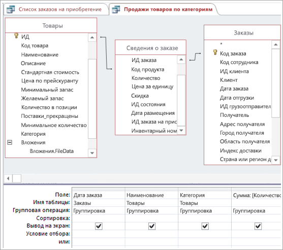 Создание необходимых связей с использованием промежуточной таблицы