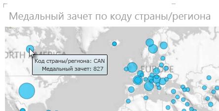 Наведите указатель мыши на данные на карте Power View, чтобы увидеть дополнительные сведения