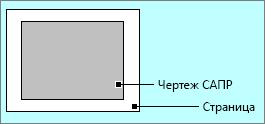 Чертеж AutoCAD, расположенный в пределах страницы
