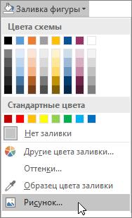 "Снимок экрана: команда ""Заливка рисунком"" в группе ""Заливка фигуры"" на вкладке ""Формат"" в Publisher."
