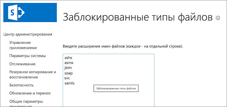 Список блокируемых файлов