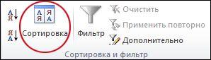"""Команда """"Сортировка"""" в группе """"Сортировка и фильтр"""" на вкладке """"Данные"""" в Excel"""