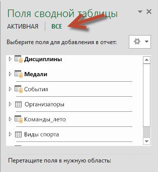 """Нажатие кнопки """"Все"""" в полях сводной таблицы для отображения всех доступных таблиц"""