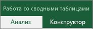 """Вкладка """"Работа со сводными таблицами"""" на ленте с вкладками """"Анализ"""" и """"Конструктор"""""""