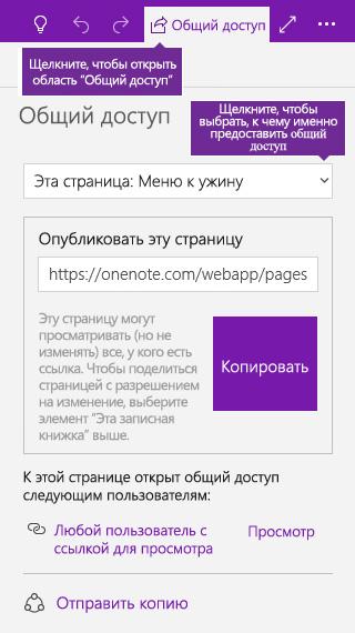 Снимок экрана: предоставление общего доступа к отдельной странице в OneNote