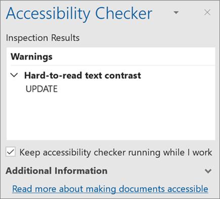 Средство проверки читаемости в Outlook