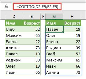 Используйте СОРТПО для сортировки диапазона. В этом случае мы использовали =СОРТПО(D2:E9,E2:E9) для сортировки списка имен людей по их возрасту в порядке возрастания.