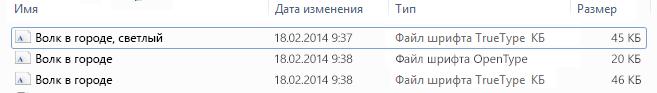 Список шрифтов в распакованном файле.