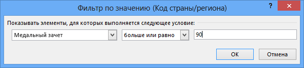 """Окно """"Фильтр по значению"""""""