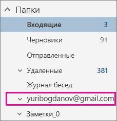 Список папок с выделенной учетной записью Gmail