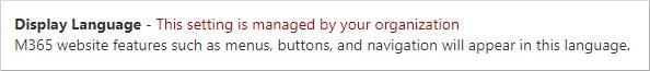 """Страница """"Моя учетная запись"""" с отображением отключенных параметров языка отображения для организации"""