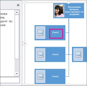 Организационная диаграмма SmartArt с рисунками, поле которое выделено, чтобы показать, где вы можете ввести текст