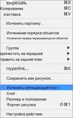 """Контекстное меню для изображений с выбранным параметром """"замещающий текст""""."""