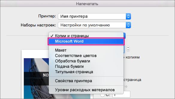 """В диалоговом окне """"Печать"""" выберите в списке пункт Microsoft Word, чтобы настроить дополнительные параметры печати."""