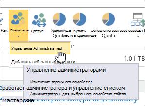"""SharePoint Online: кнопка """"Владельцы"""" для администратора сайта с выделенным элементом """"Управление администраторами"""""""