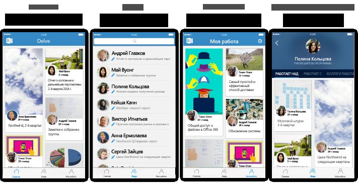 Четыре экрана Delve для iPhone с описанием