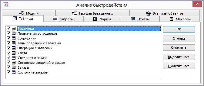"""Диалоговое окно """"Анализ быстродействия"""" в Access"""